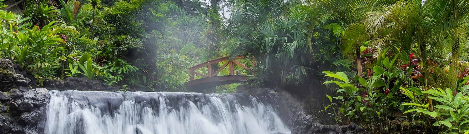 tabacon grand spa arenal costa rica waterfall in the hot springs
