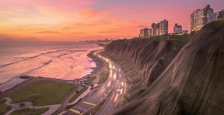 miraflores lima at sunset