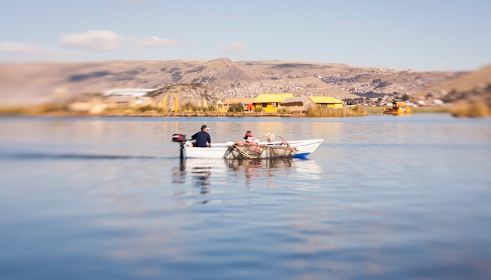 speed boat on lake titicaca