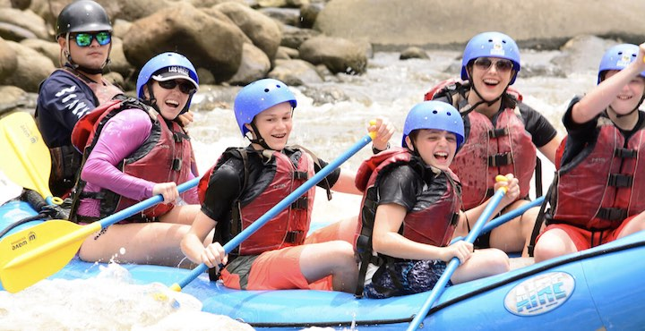 family rafting on the balsa river costa rica