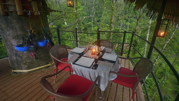 romantic canopy dinner at pacuare lodge