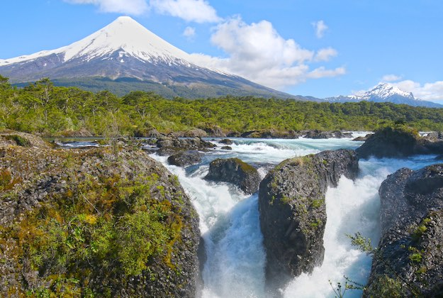 osorno volcano and petrohue falls chilean lake district