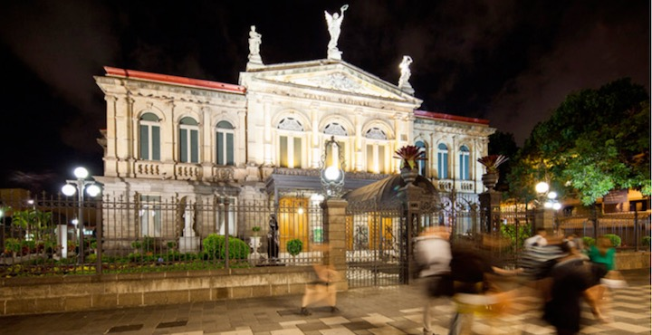 national theatre at night san jose costa rica
