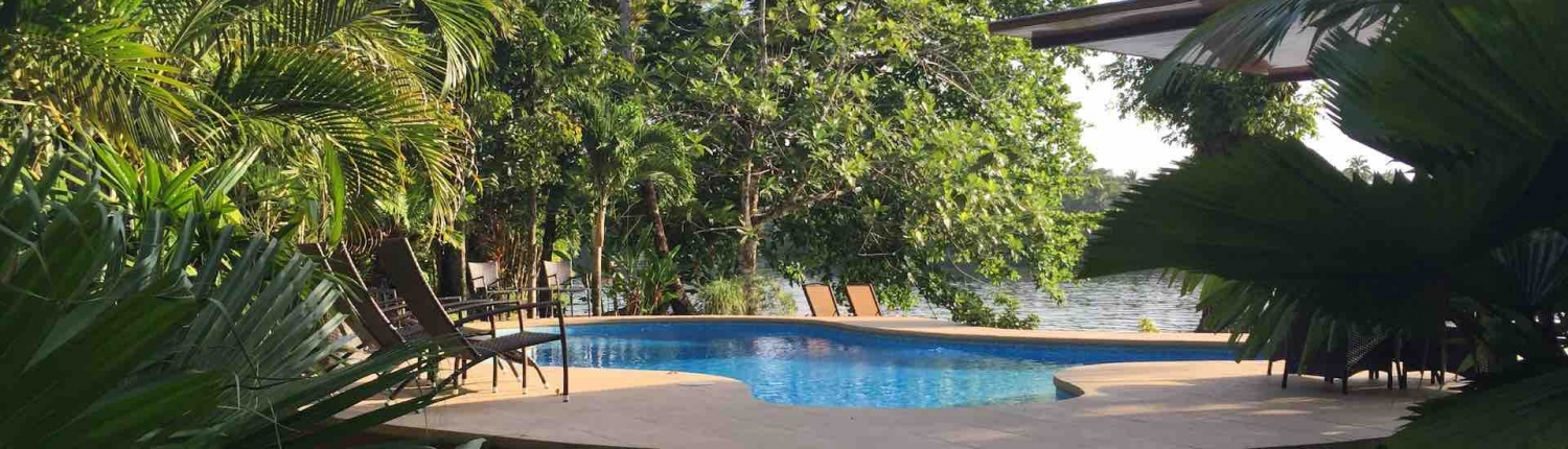 view of the pool at manatus hotel tortuguero