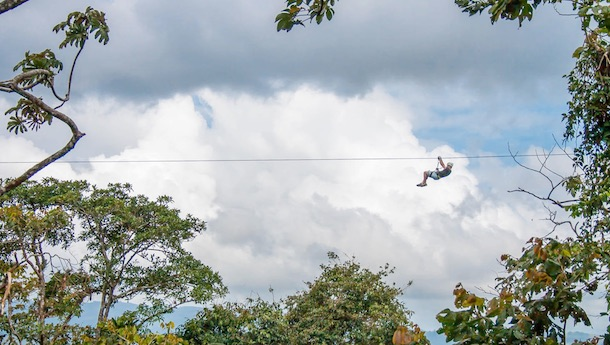 zip lining in arenal sky trek