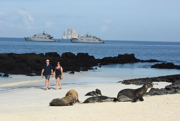 coral I & II yachts from the beach galapagos