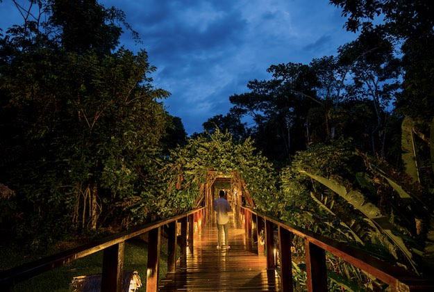 posadas amazonas peru walkways at night