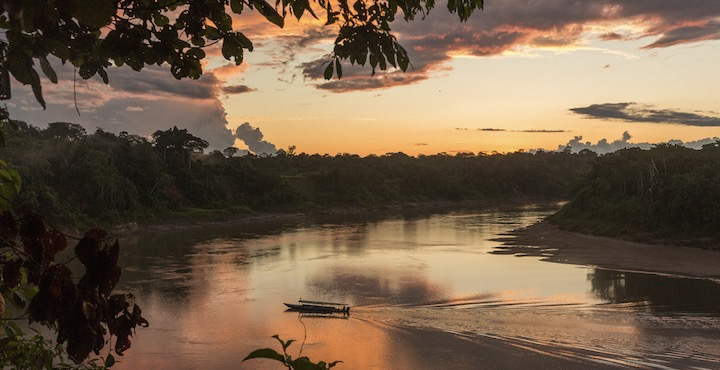 sunset in the amazon peru