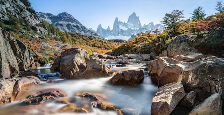 hiking to cerro torre with a view of mount fitz roy