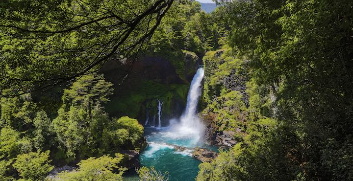 waterfall in huilo huilo chile